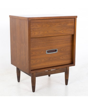 Mainline by Hooker Mid Century Walnut and Stainless Nightstand