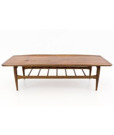 Greta Jalk Style Bassett Artisan Mid Century Modern Walnut Surfboard Coffee Table