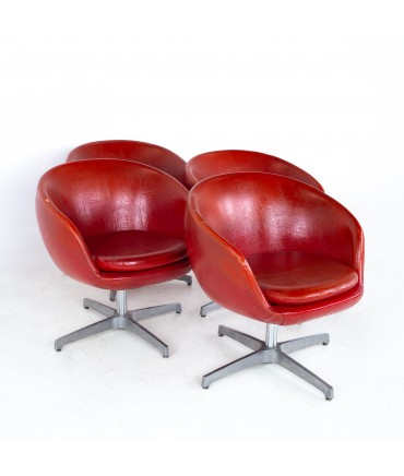 Mid Century Red Vinyl Pod Occasional Lounge Chairs - Set of 4