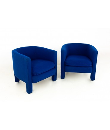 Drexel Heritage Mid Century Upholstered Blue Club Lounge Chairs - Pair