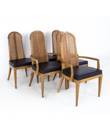 Dillingham Style Mid Century Walnut and Cane Dining Chairs - Set of 6