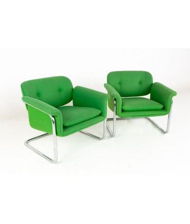 Mid Century Green and Chrome Cantilever Lounge Chairs - A Pair