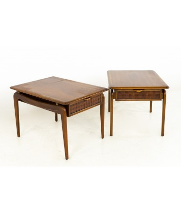 Andre Bus For Lane Perception Mid Century Walnut Side End Tables- A Pair