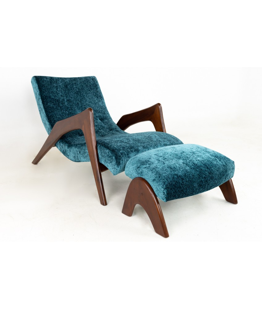 Adrian Pearsall for Craft Associates Mid Century Chaise Lounge Chair and Ottoman