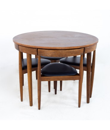 Hans Olsen for Frem Røjle Mid Century Round Danish Teak Dining Table with Set of 4 Nesting Chairs