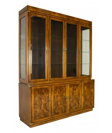 Hickory Manufacturing Company Mid Century Burlwood Buffet Sideboard with Hutch