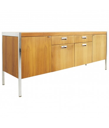 Knoll Style Mid Century Walnut and Chrome Office Sideboard Credenza