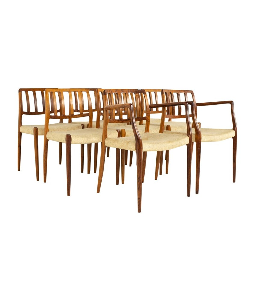 Niels Otto Møller Model 83 Mid Century Rosewood Dining Chairs - Set of 8
