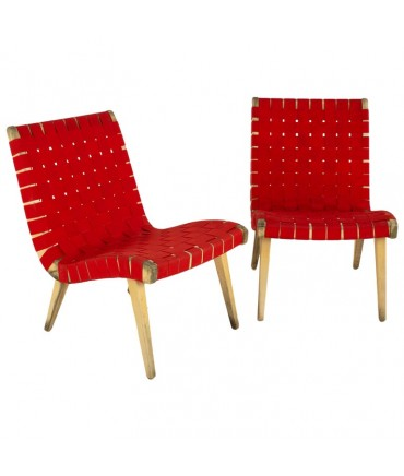 Jens Risom for Knoll Mid Century Strap Lounge Chairs - Pair