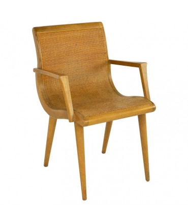 Mid Century Blonde Caned Dining Desk Chair