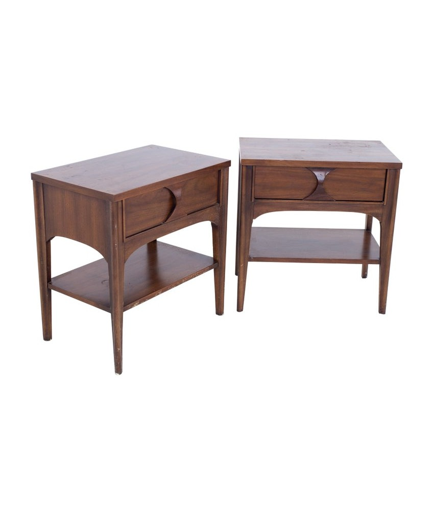 Kent Coffey Perspecta Mid Century Walnut and Rosewood Nightstands - A Pair