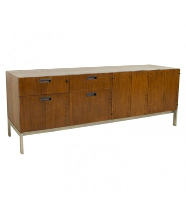 Baker Furniture Mid Century Chrome and Walnut Office Credenza