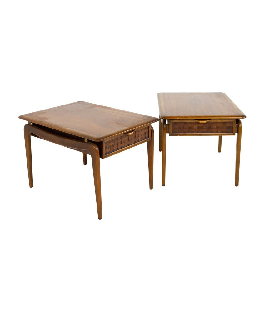 Andre Bus For Lane Perception Mid Century Walnut Side End Tables - A Pair