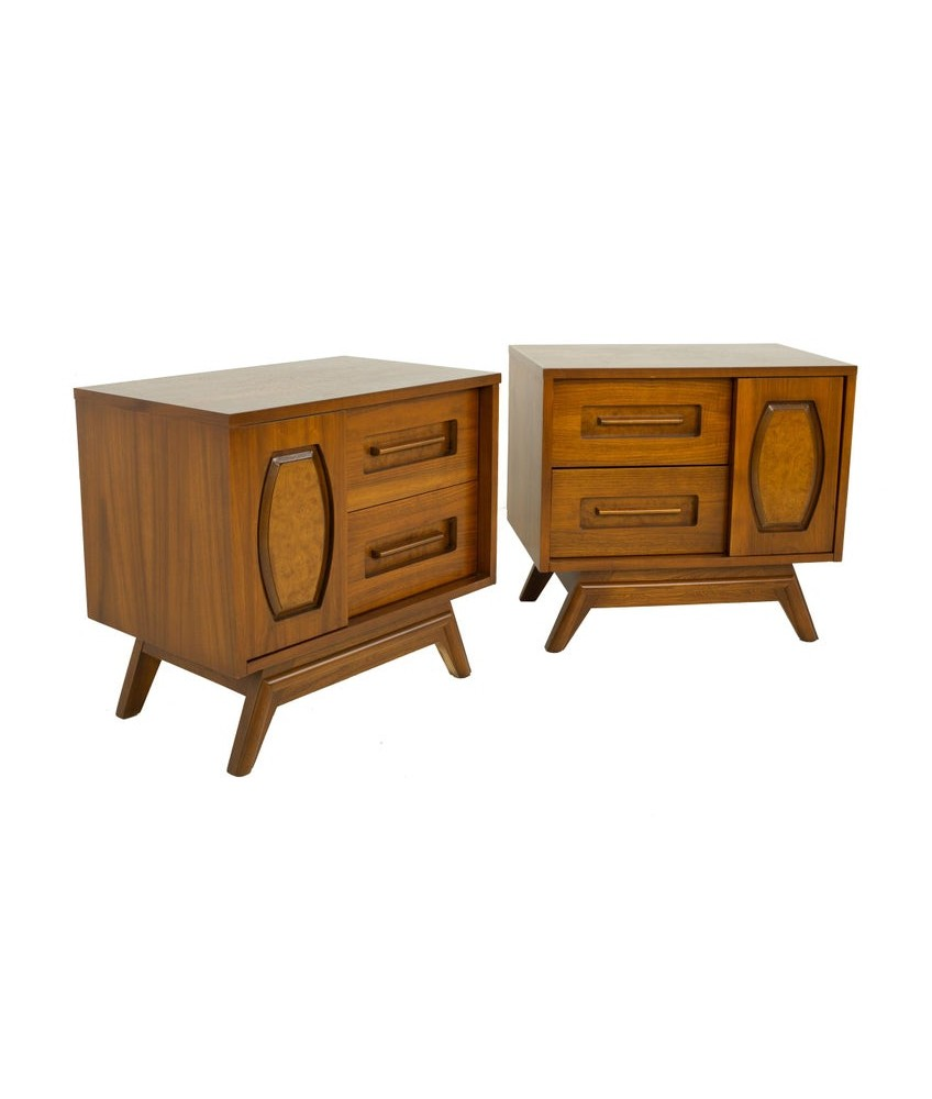 Young Manufacturing Mid Century Walnut and Burlwood Nightstands - A Pair