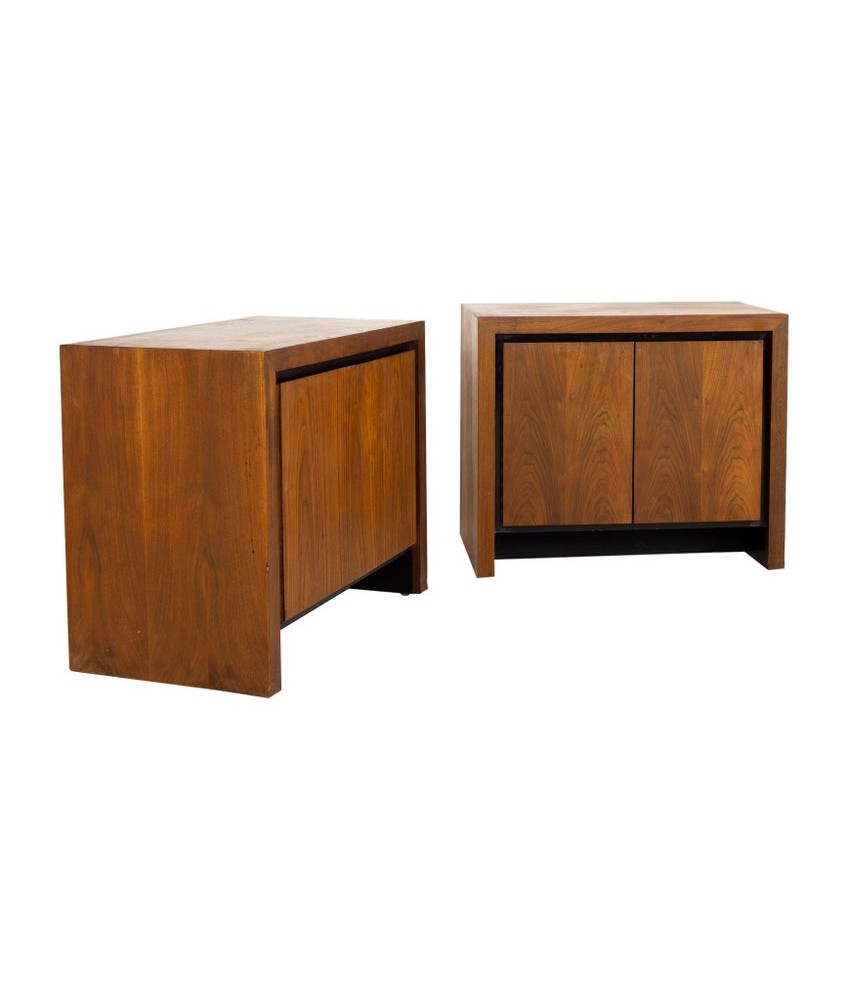 Merton Gershun for Dillingham Mid Century Bookmatched Cabinet End Table Nightstand - A Pair