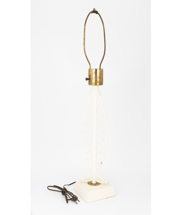 Mid Century Fish Shaped White Table Lamp