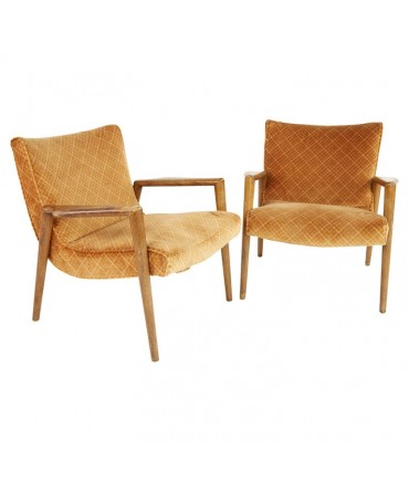 Leslie Diamond For Conant Ball Mid Century Lounge Chairs - Pair
