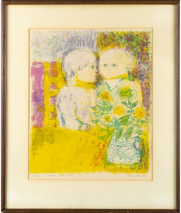 Eleanor 'Children At The Table' Signed 1966 Wall Art