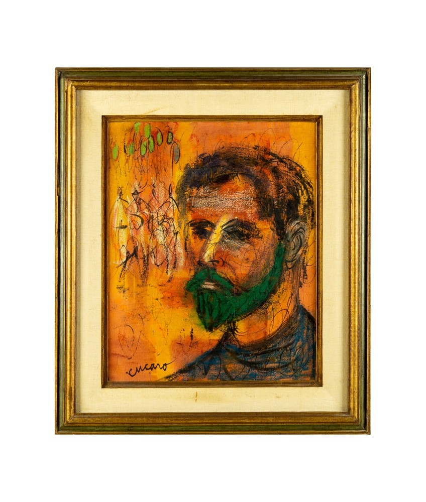 Mid Century Pascal Cucaro Signed Oil on Canvas Portrait