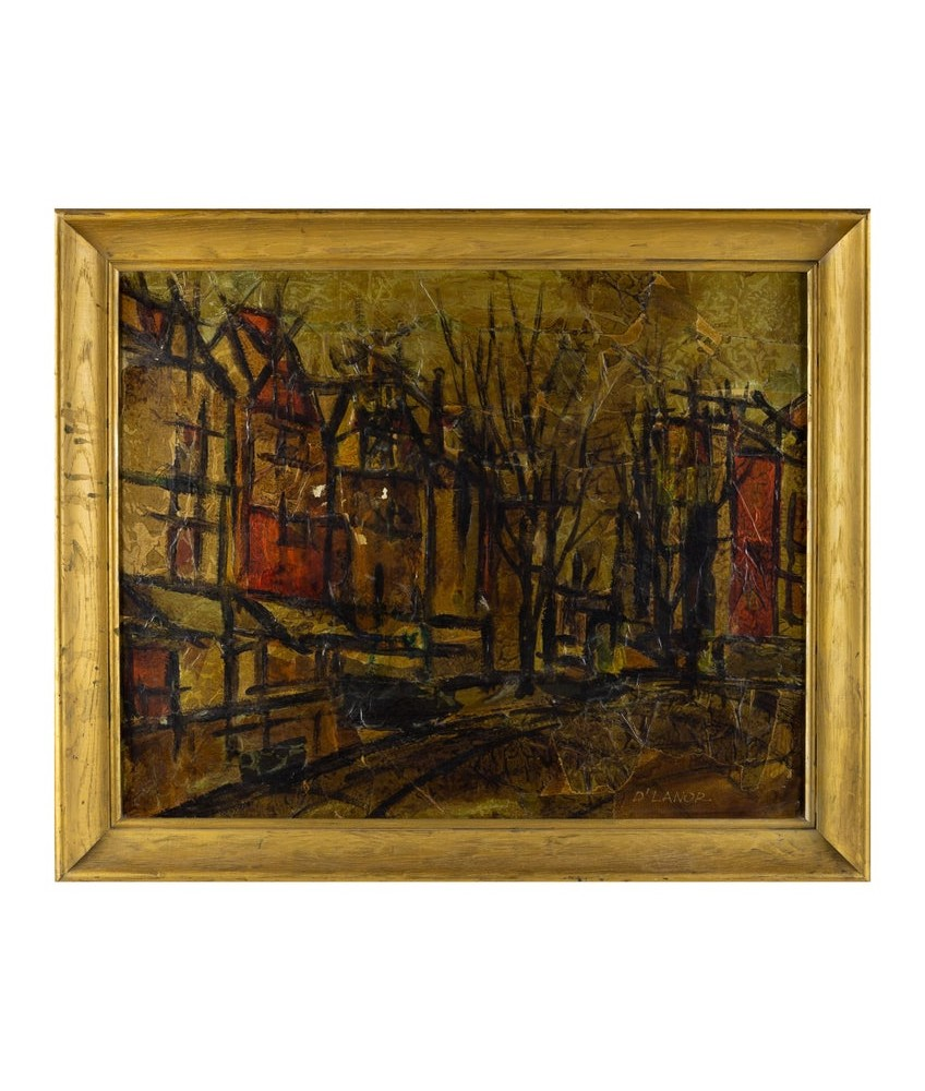 Mid Century D'Lanor Abstract Cityscape Oil On Canvas Painting