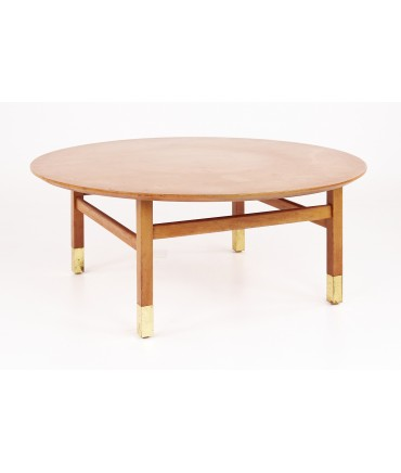 Founders Furniture Company Mid Century Walnut and Brass Round Coffee Table