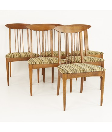 Broyhill Sculptra Walnut Cat's Eye Dining Chairs - Set of 6 - No Captains Chairs