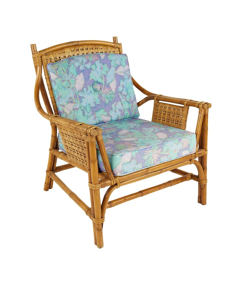 Ficks Reed Style Mid Century Bamboo Rattan Lounge Chair