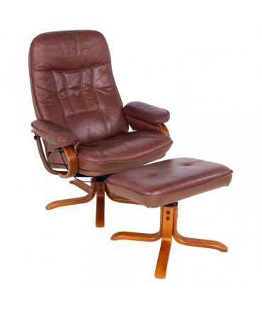 Ekornes Style Mid Century Reclining Lounge Chair and Ottoman