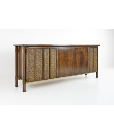 Johnson Furniture Mid Century Cane Front Sideboard Credenza