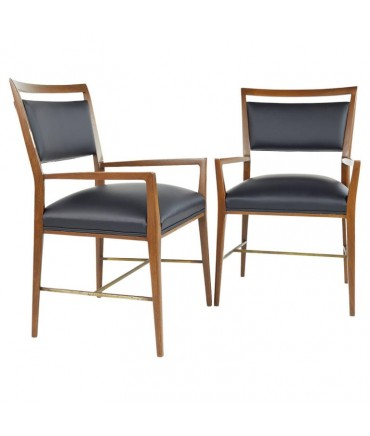 Paul McCobb For Calvin Group Mid Century Walnut Brass and Leather Captain Chairs - Pair