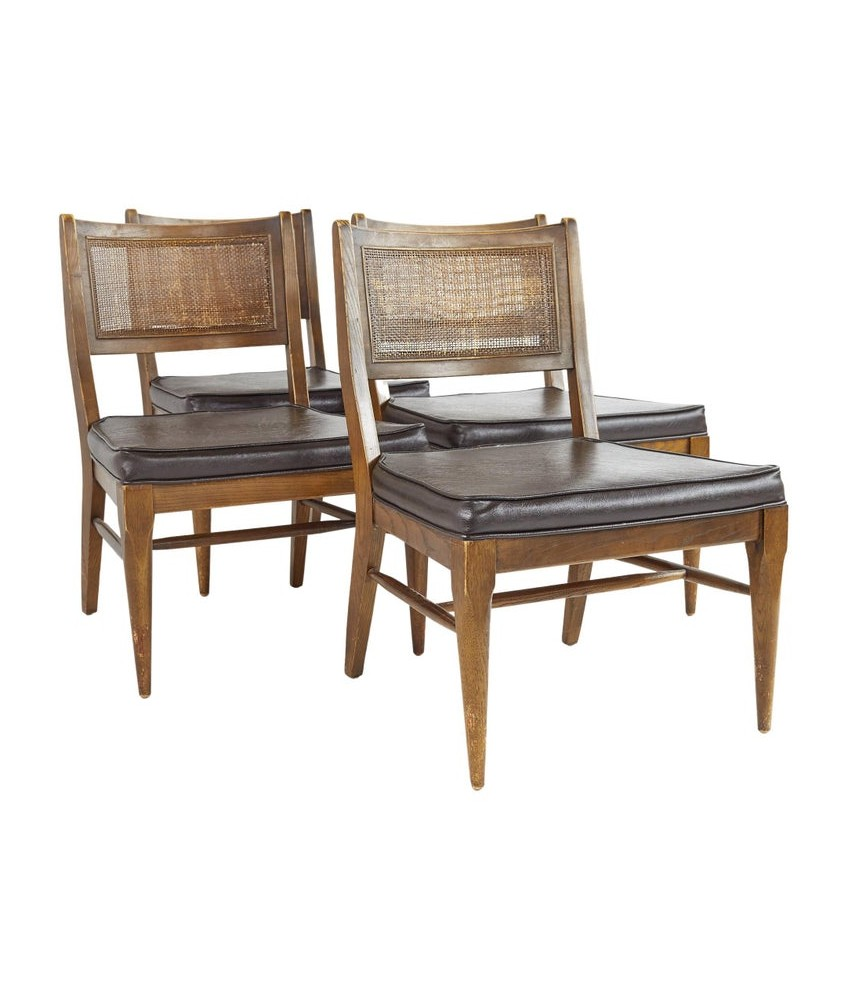 Broyhill Brasilia Mid Century Caned and Walnut Party Chairs - Set of 4