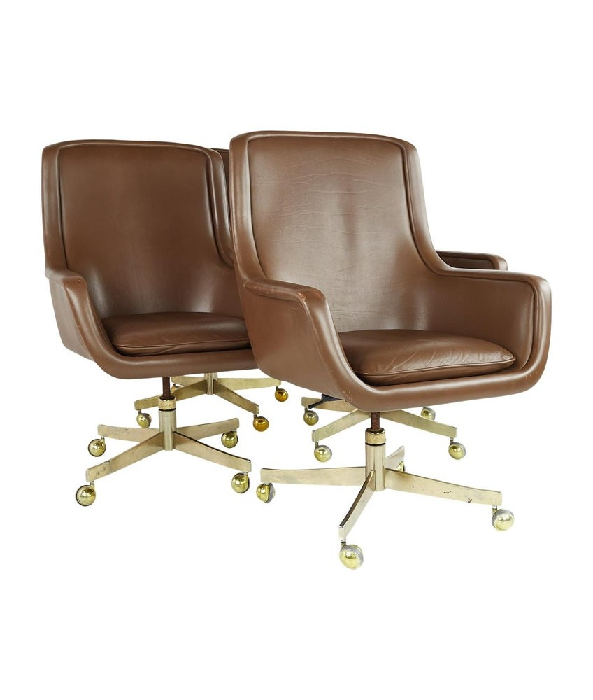 Ward Bennett Mid Century Executive Highback Brass and Leather Office Chairs - Set of 4
