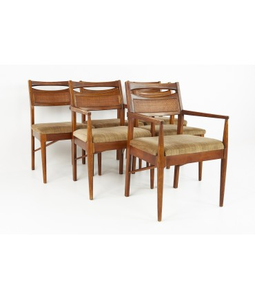 American of Martinsville Mid Century Cane Back Walnut Dining Chairs - Set of 6