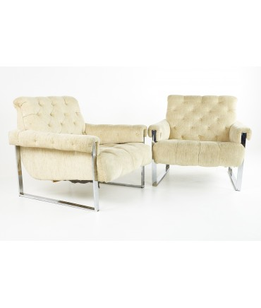 Milo Baughman Style Mid Century Chrome Tufted Lounge Chairs- A Pair