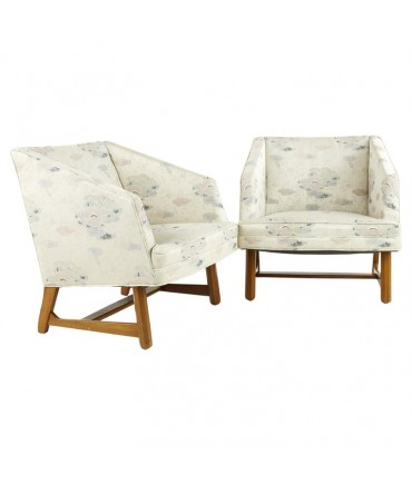 Adrian Pearsall Style Mid Century Walnut Lounge Chairs - Pair