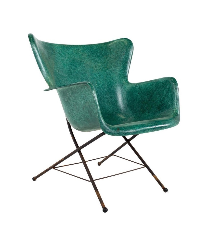 Lawrence Peabody for Selig Mid Century Wingback Fiberglass Shell Chair - Green