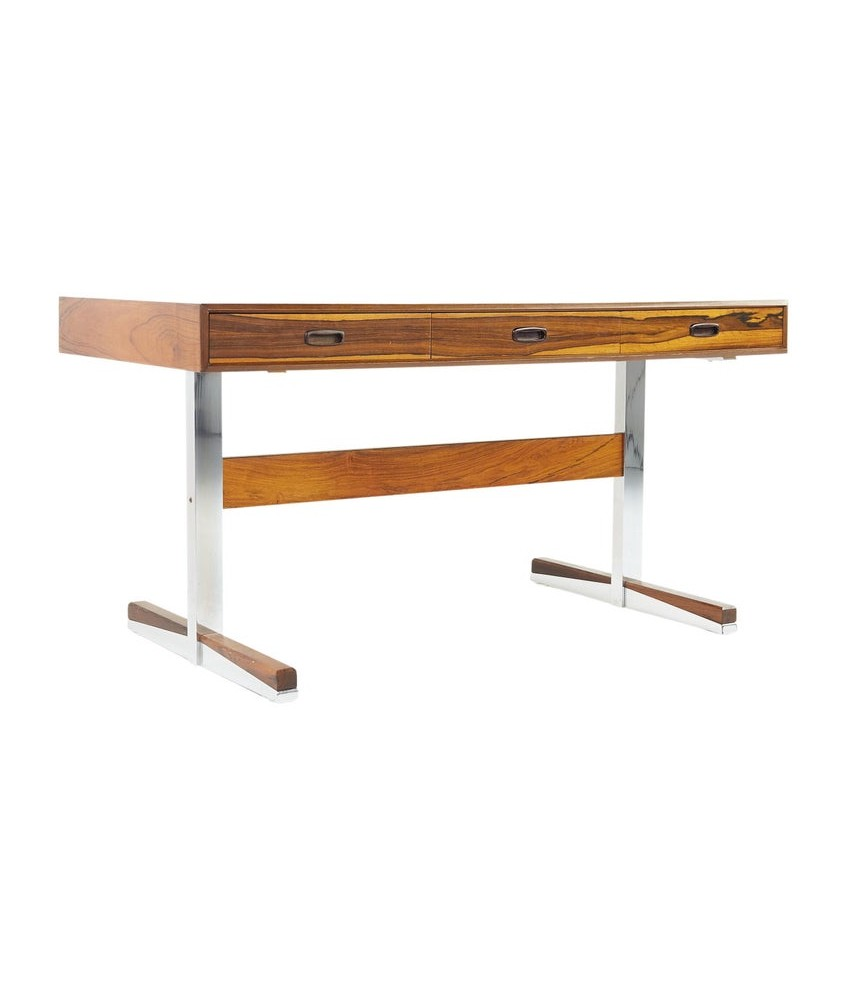 Maurice Villency Mid Century Chrome and Rosewood Desk