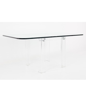 Charles Hollis Jones Mid Century Lucite and Glass Dining Table