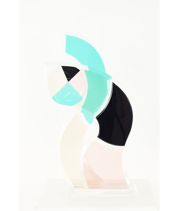 Mid Century Colorful Lucite Abstract Sculpture