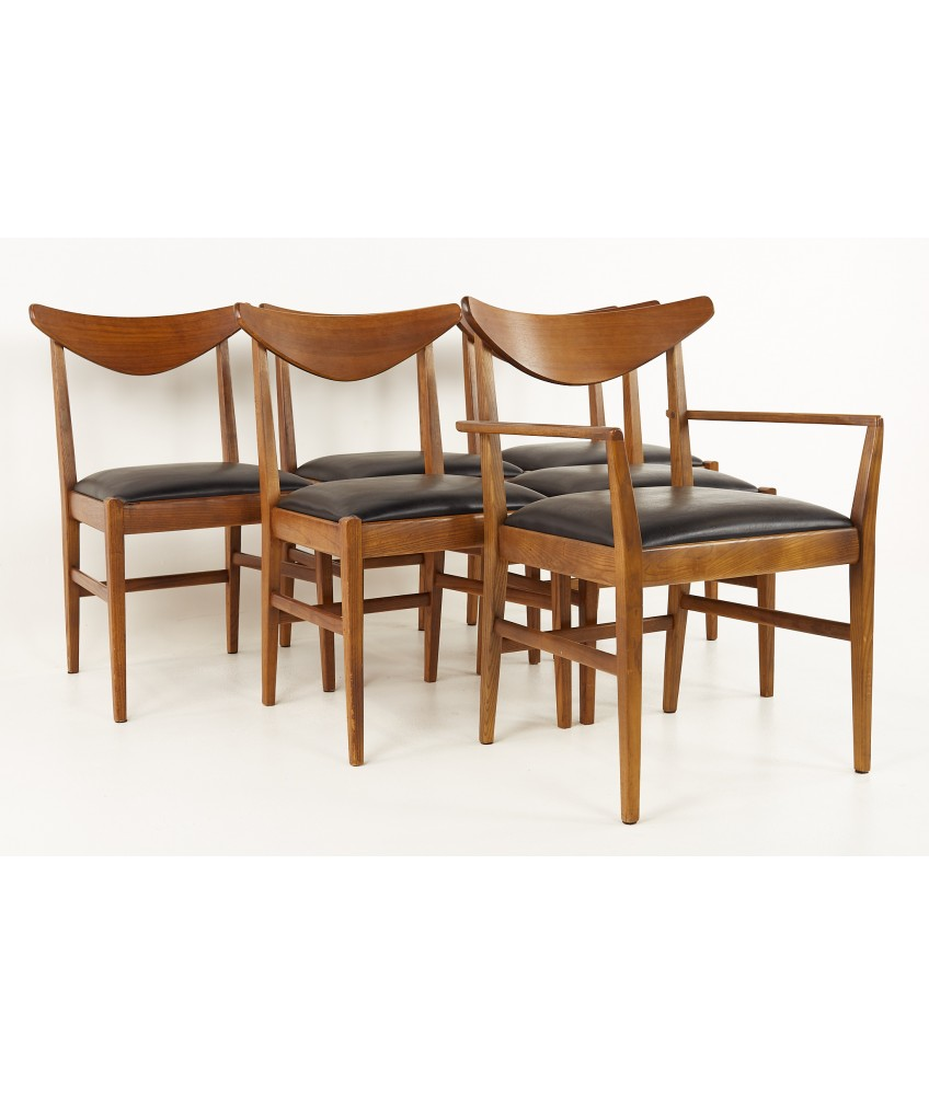 Stanley Mid Century Walnut Cats Eye Dining Chairs - Set of 6