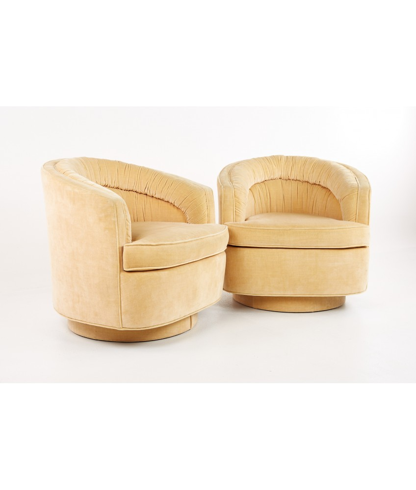 Milo Baughman Style Mid Century Peach Upholstered Swivel Lounge Chairs - Pair