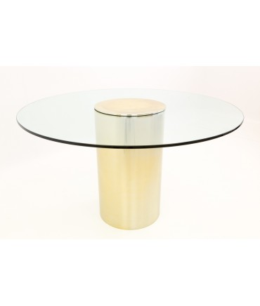 Paul Mayen for Habitat Brass and Glass Drum Dining Table