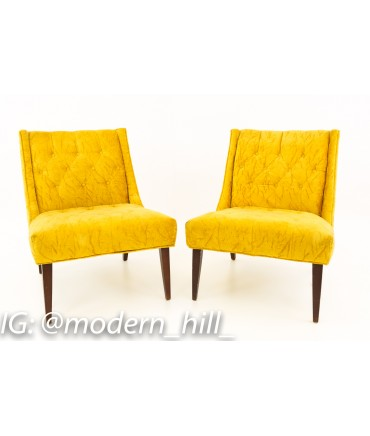 Mid Century Modern Crushed Gold Slipper Chair New