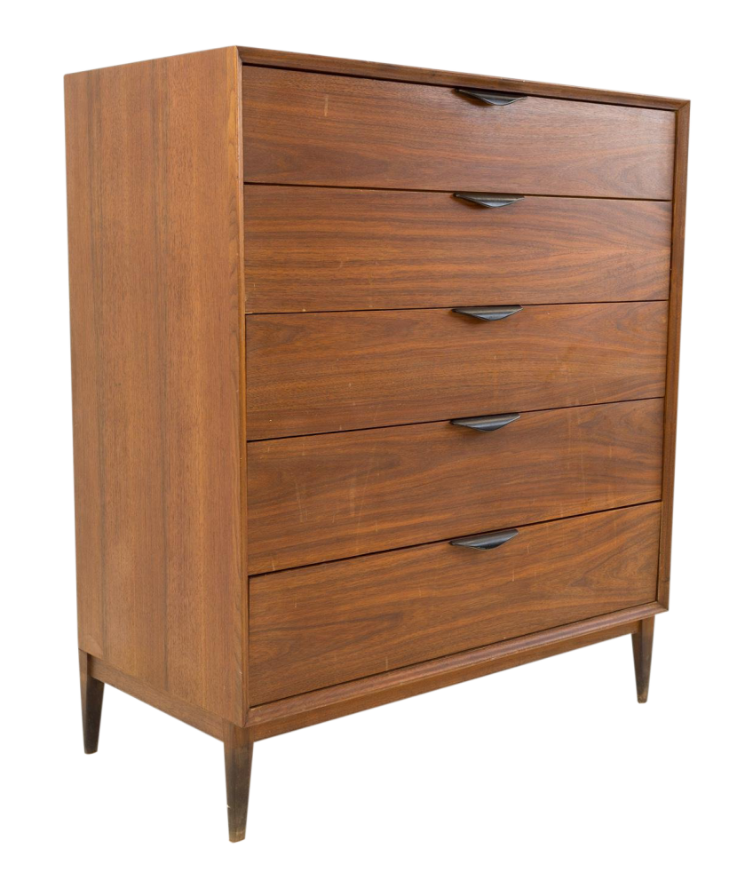 Dillingham Esprit Mid Century Highboy with Carved Wood Handles