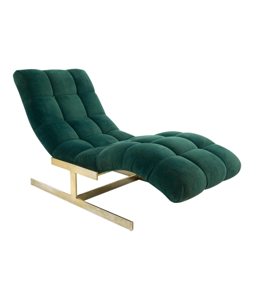 Milo Baughman Brass Base Tufted Chaise Lounge Chair