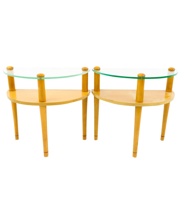 Gilbert Rohde Style Semi Circle Side End Accent Tables - Matching Pair