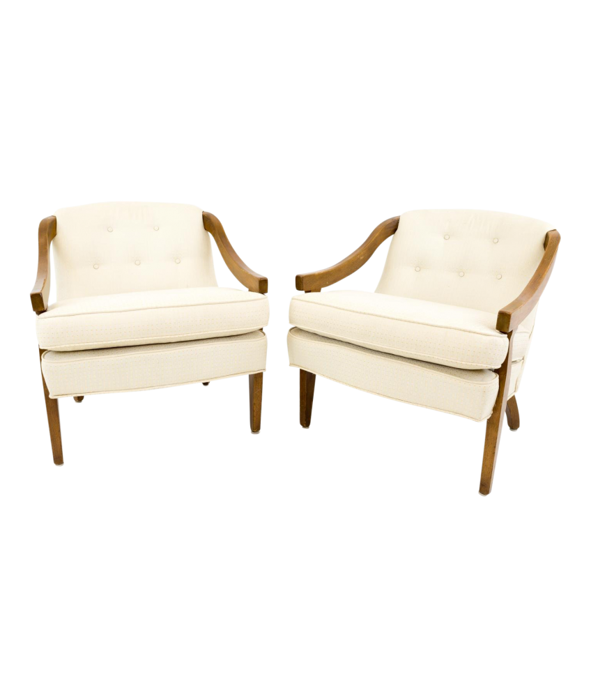 Mid Century Cream and Gold Patterned Barrel Back Chairs - Matching Pair