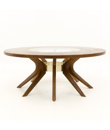 Broyhill Brasilia Cathedral Glass and Walnut Mid Century Round Coffee Table