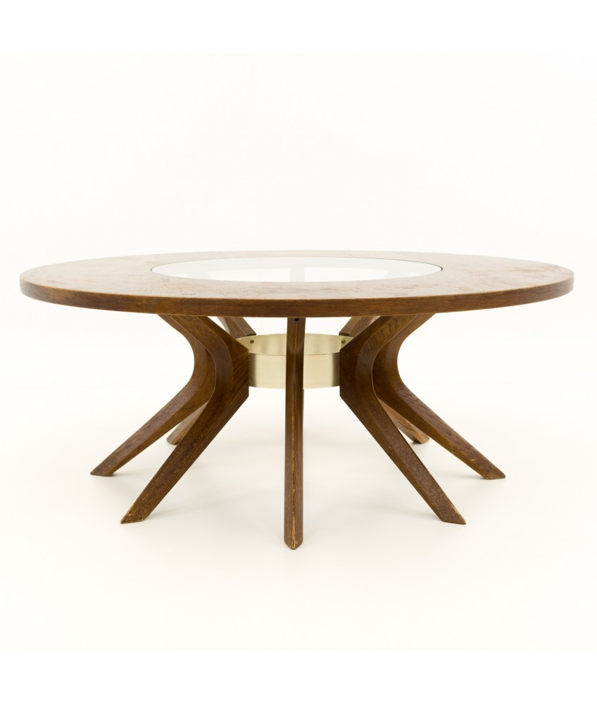 Ordinaire Broyhill Brasilia Cathedral Glass And Walnut Mid Century Round Coffee Table