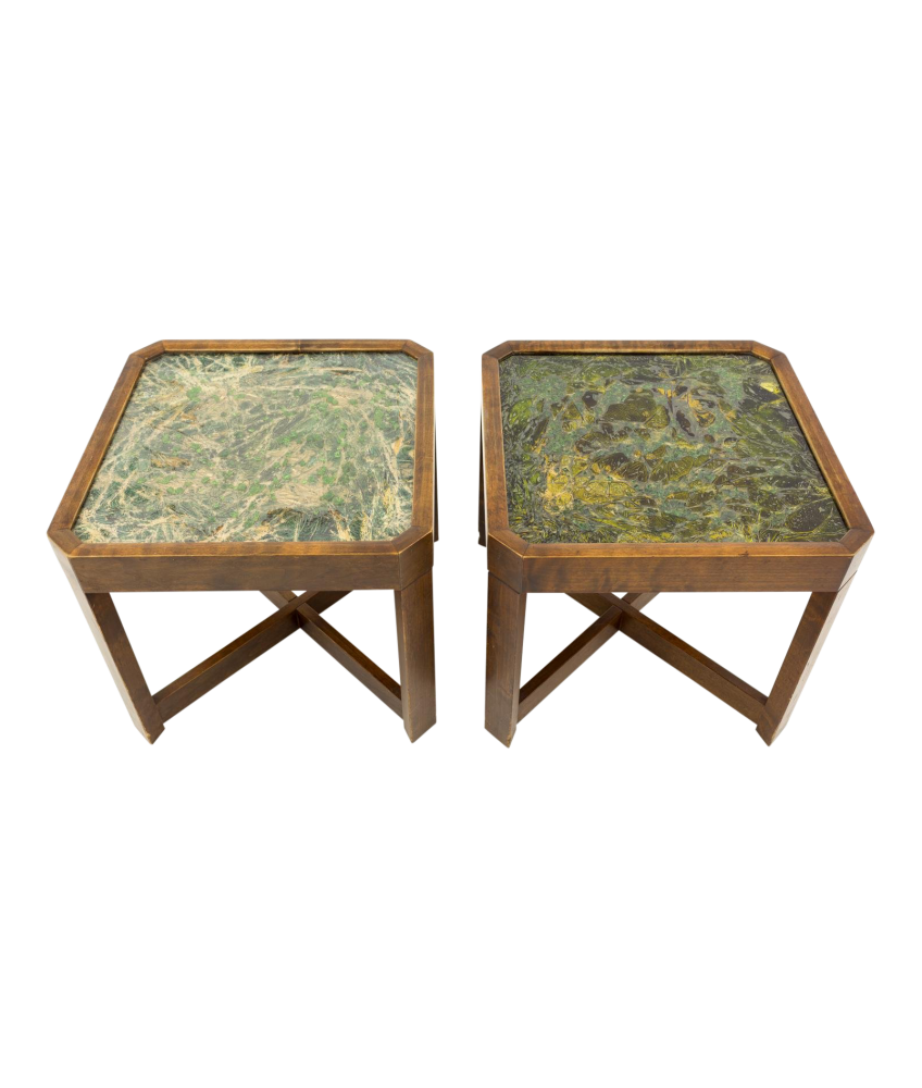 John Keal for Brown Saltman Mid Century Modern Small Side End Tables
